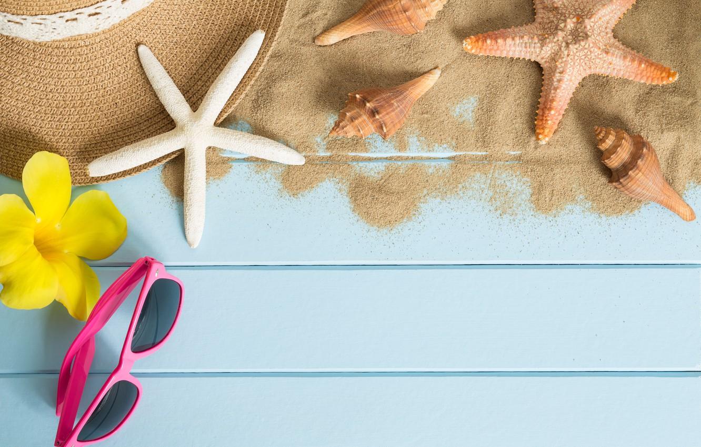 Photo wallpaper sand, beach, summer, stay, star, hat, glasses, shell, summer, beach, sand, starfish, sunglasses, seashells