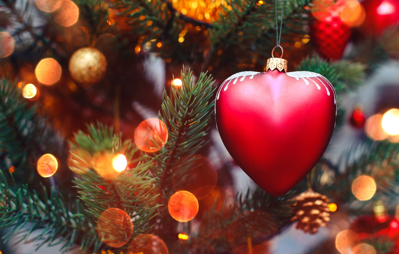 Photo wallpaper decoration, lights, lights, heart, tree, New Year, Christmas, garland, happy, Christmas, heart, wood, tree, bokeh, …