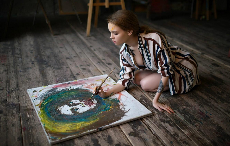 Photo wallpaper paint, creativity, brush, Anastasia Shcheglova