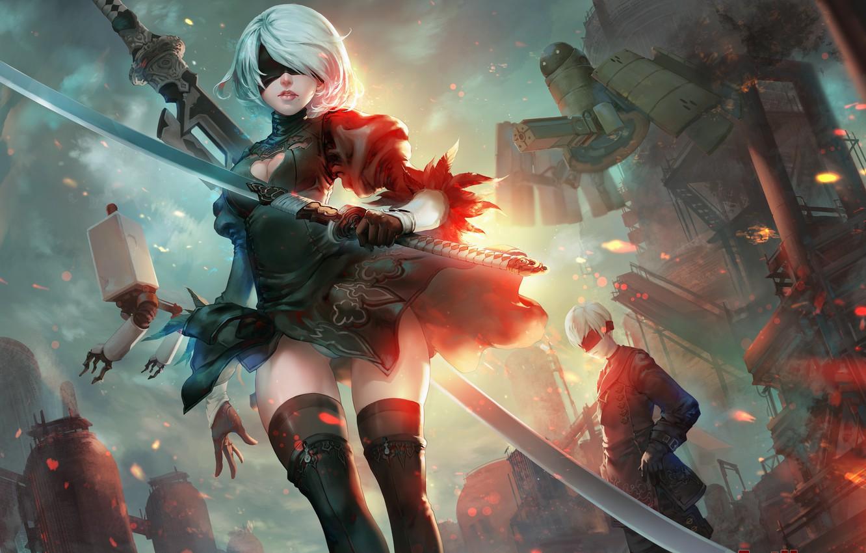 Photo wallpaper girl, weapons, fire, sword, katana, robots, art, headband, guy, nier, yorha unit no. 2 type ...
