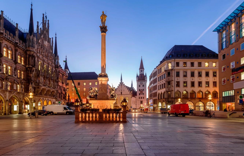 Photo wallpaper lights, home, the evening, Germany, Munich, Bayern, area, monument, Germany, Munich, Bavaria, Marienplatz, Marienplatz