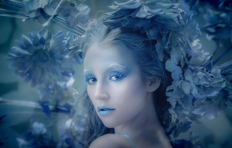 Photo wallpaper look, girl, flowers, style, makeup, Blue Hydragea