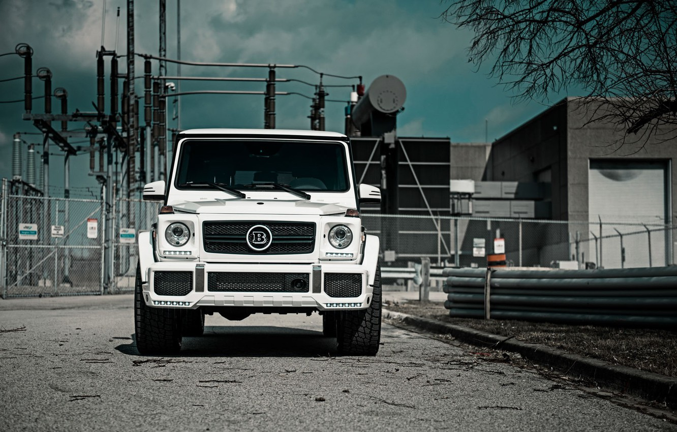 Photo wallpaper Mercedes, Front, AMG, White, G63, Face, W463