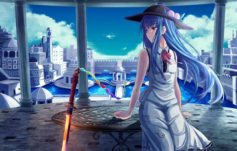 Photo wallpaper girl, sword, art, touhou, hinanawi tenshi