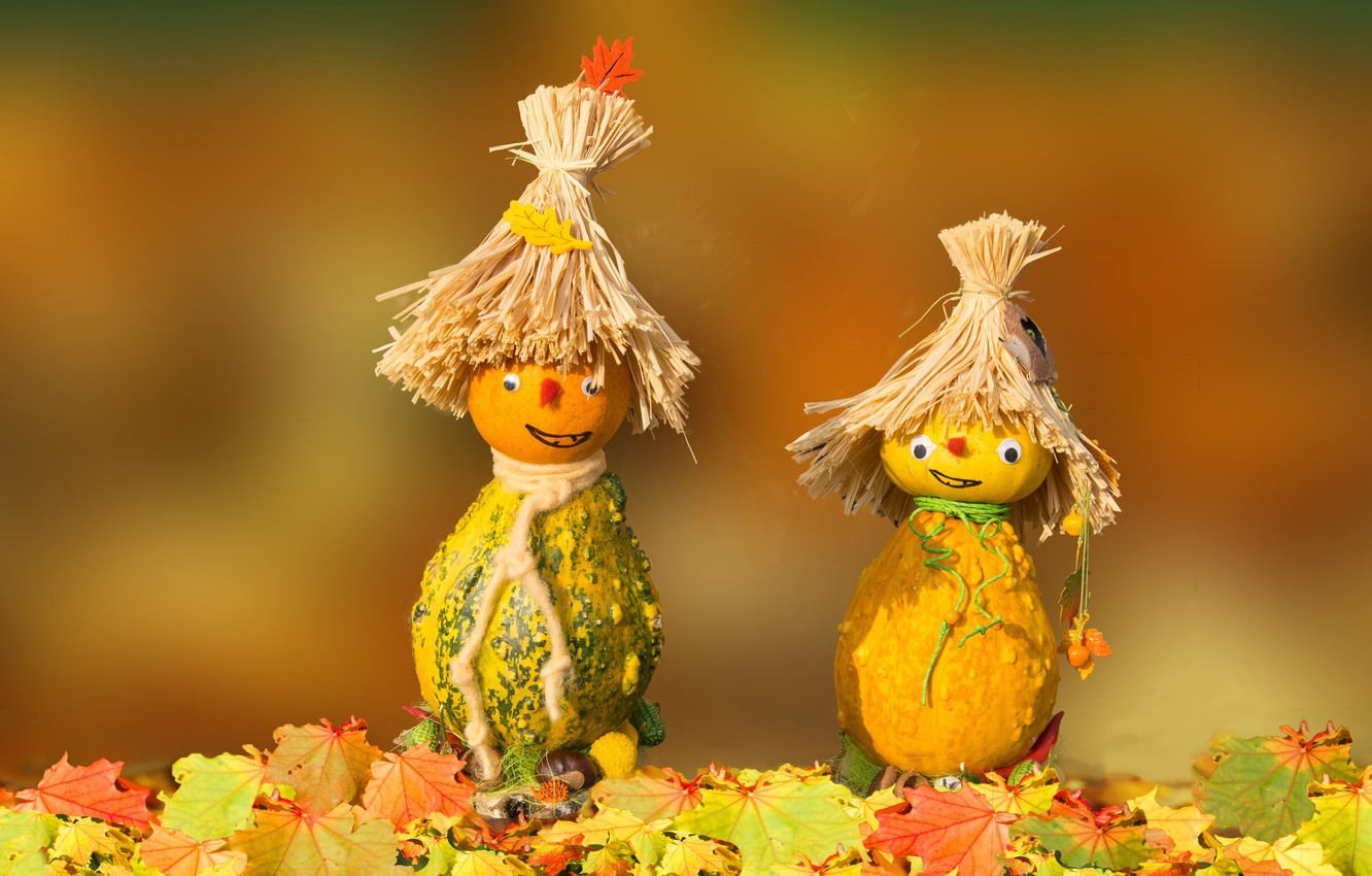 Photo wallpaper autumn, pumpkin, figures