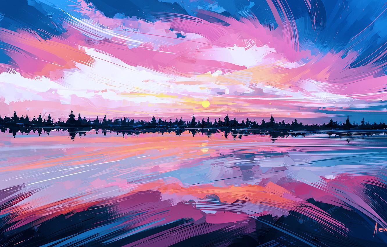 Photo wallpaper the sky, water, the sun, clouds, sunset, reflection, sunrise, anime, art, sky, mirror, Alena Aenam …