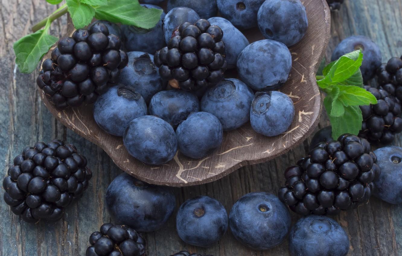 Photo wallpaper blueberries, berry, mint, BlackBerry