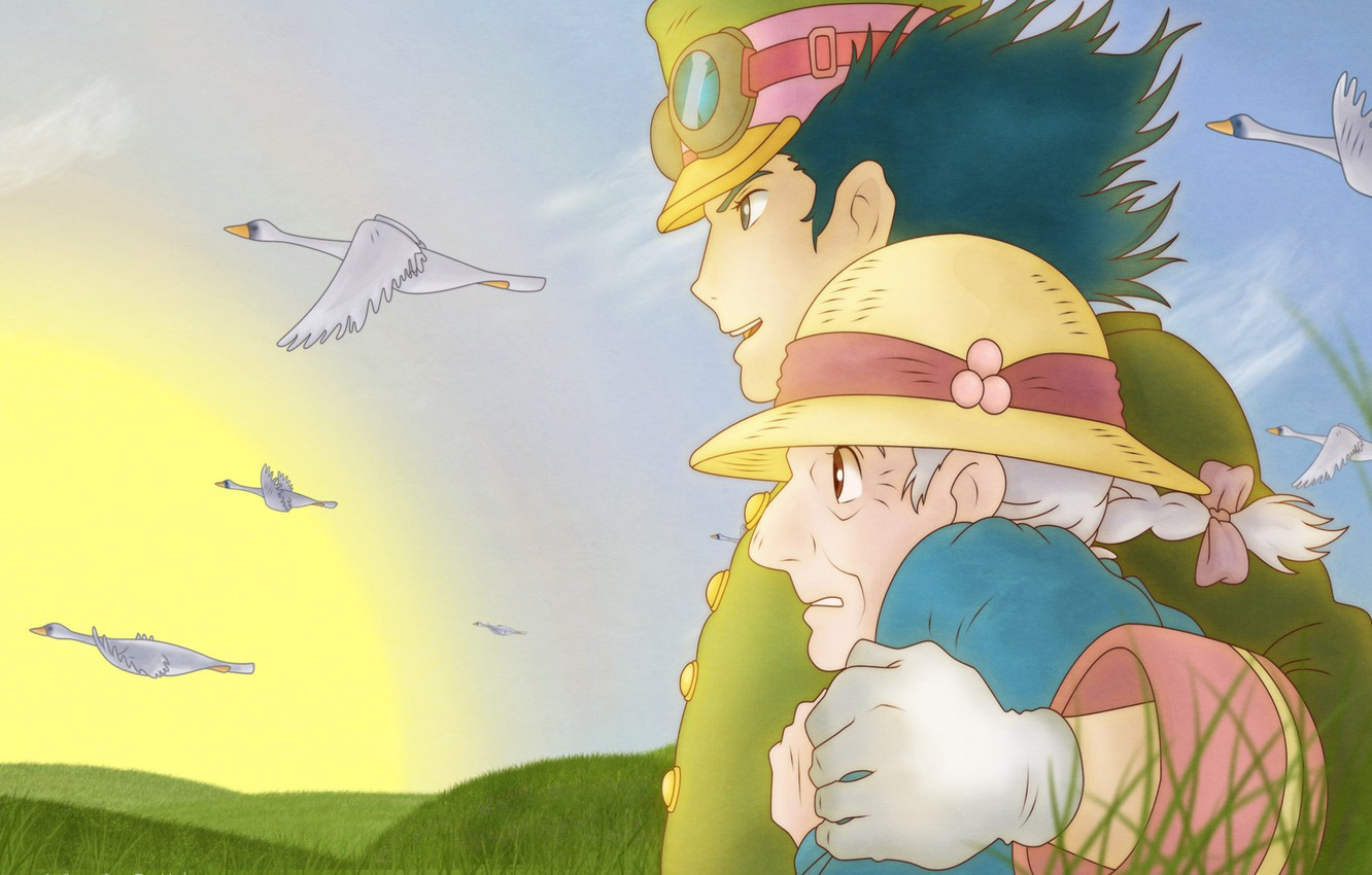 Photo wallpaper Anime, Two, Howl's Moving Castle, Romance