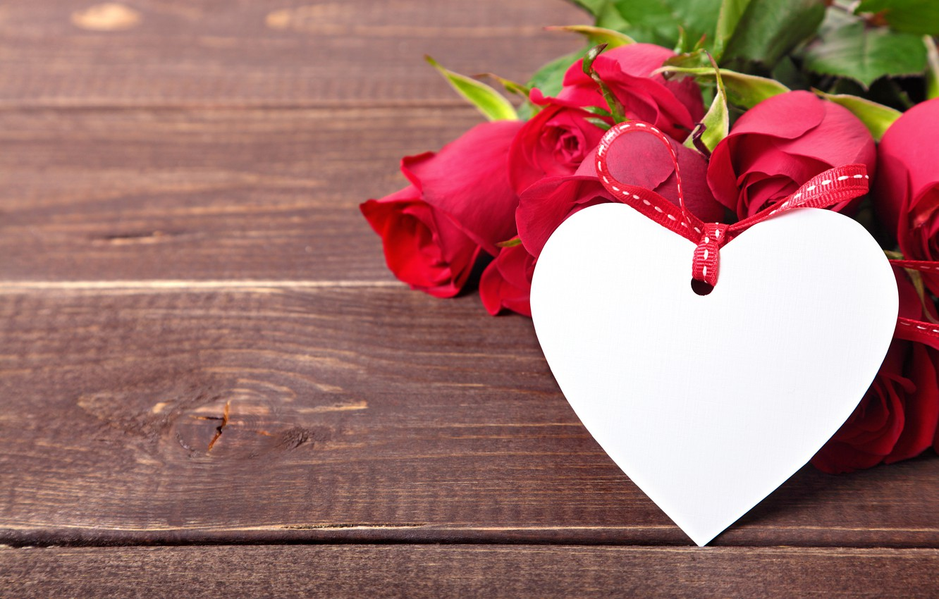Photo wallpaper roses, love, heart, wood, romantic, roses, valentine`s day