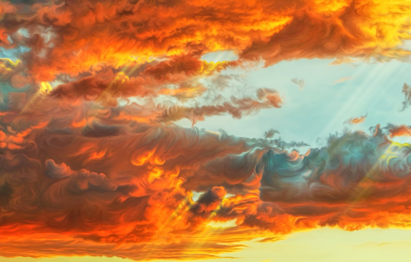 Photo wallpaper the sky, clouds, sunset, by exobiology