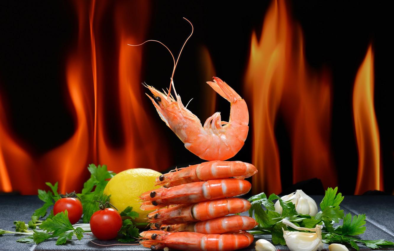 Photo wallpaper greens, pepper, tomato, shrimp, seafood, salt