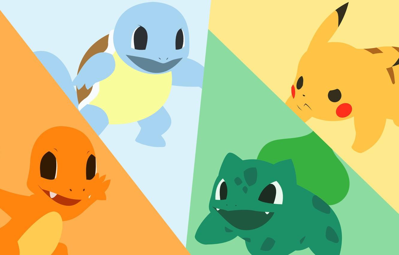 Photo wallpaper grass, water, fire, element, turtle, dinosaur, mouse, electricity, light, fire, flame, grass, Pikachu, water, pokemon, …
