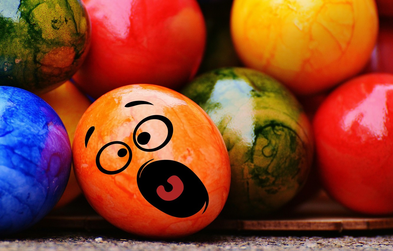 Photo wallpaper colorful, smile, Easter, rainbow, Easter, eggs, funny, decoration, Happy, the painted eggs