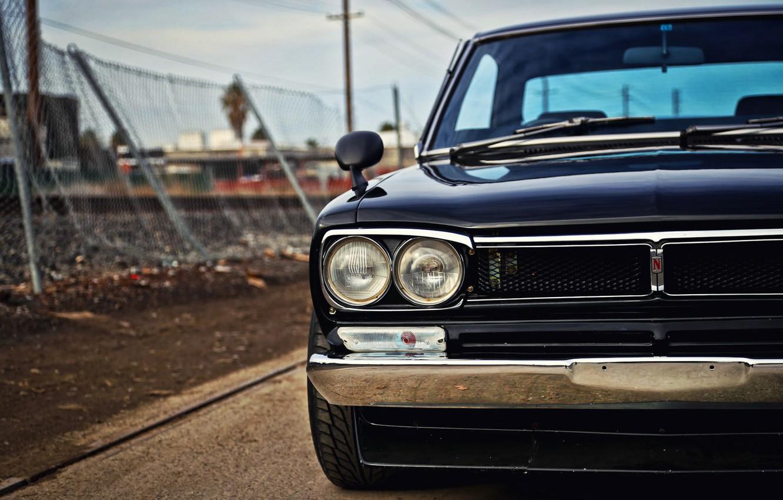 Photo wallpaper Auto, Black, Machine, Classic, Nissan, Nissan, Lights, Car, 2000, Skyline, Nissan Skyline, The front, 2000GT, …