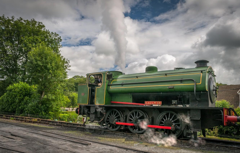 Photo wallpaper retro, the engine, technique, railroad