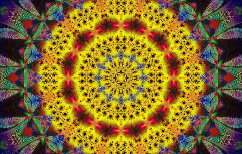 Photo wallpaper yellow, pattern, round