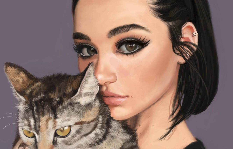 Photo wallpaper cat, look, girl, face, animal, makeup, art