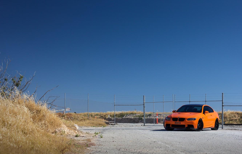 Photo wallpaper the sky, BMW, BMW, Orange, orange, dry grass, e92