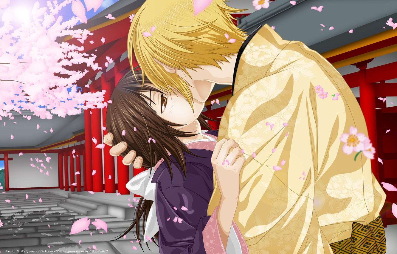 Photo wallpaper romance, kiss, anime, art, two, Hakuouki, Yukimura Chizuru, Kazama Chikage