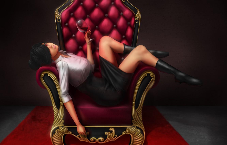 Photo wallpaper look, girl, pose, wine, skirt, chair, anime, art, red eyes, bangs, glass