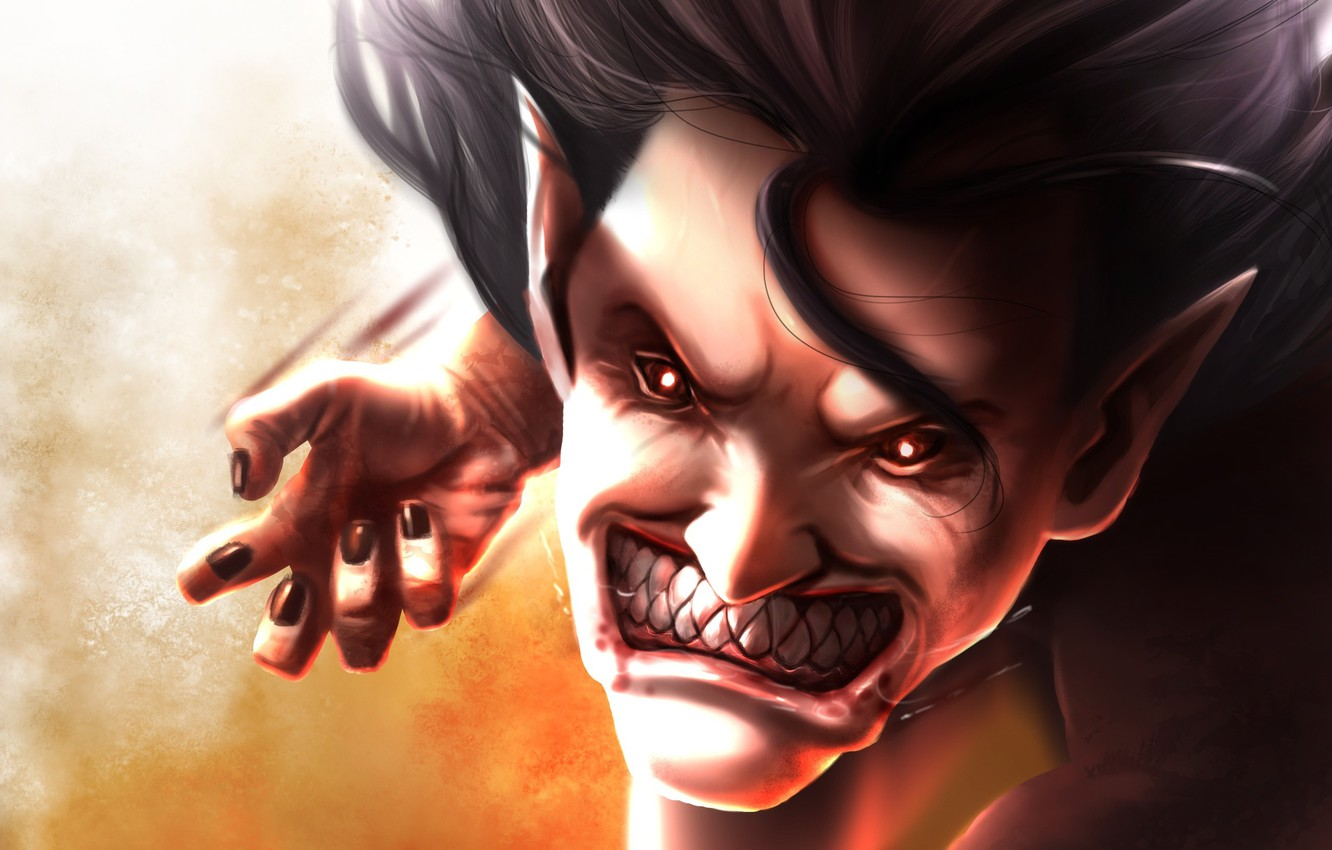 Photo wallpaper blood, game, monster, big, anime, face, fang, asian, giant, manga, japanese, oriental, asiatic, powerful, strong, …