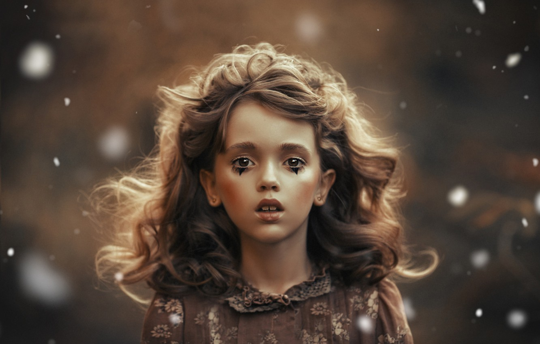 Photo wallpaper look, face, background, hair, portrait, girl, curls