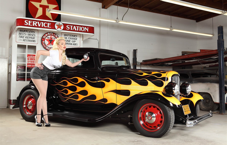 Photo wallpaper machine, girl, garage, flames