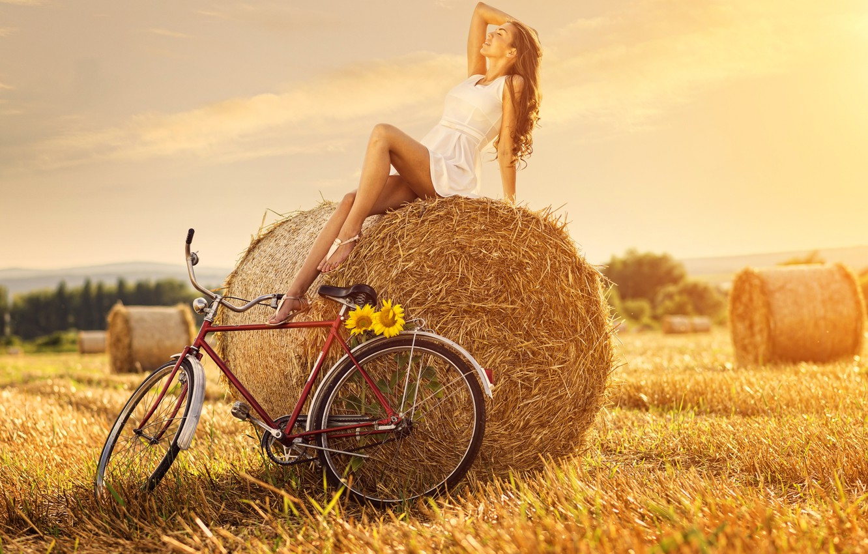 Photo wallpaper girl, flowers, bike, straw