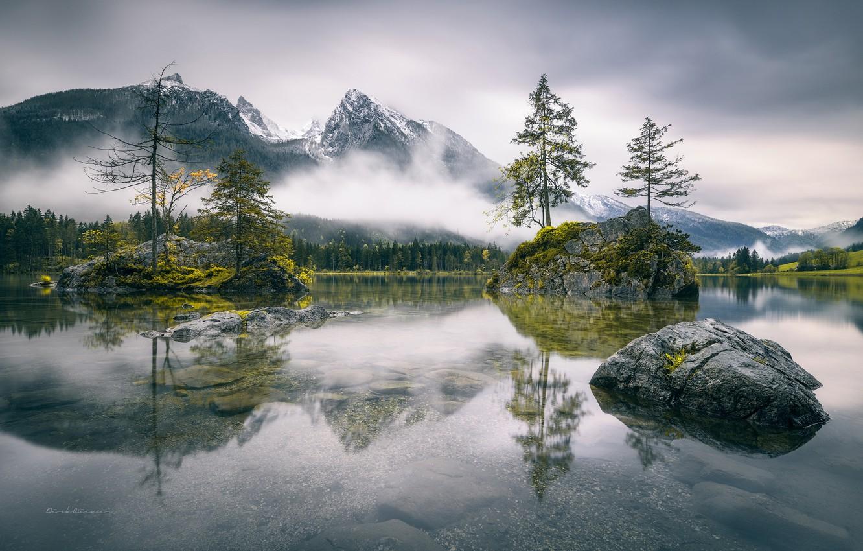 Photo wallpaper mountains, fog, lake, rocks, Germany, Bayern