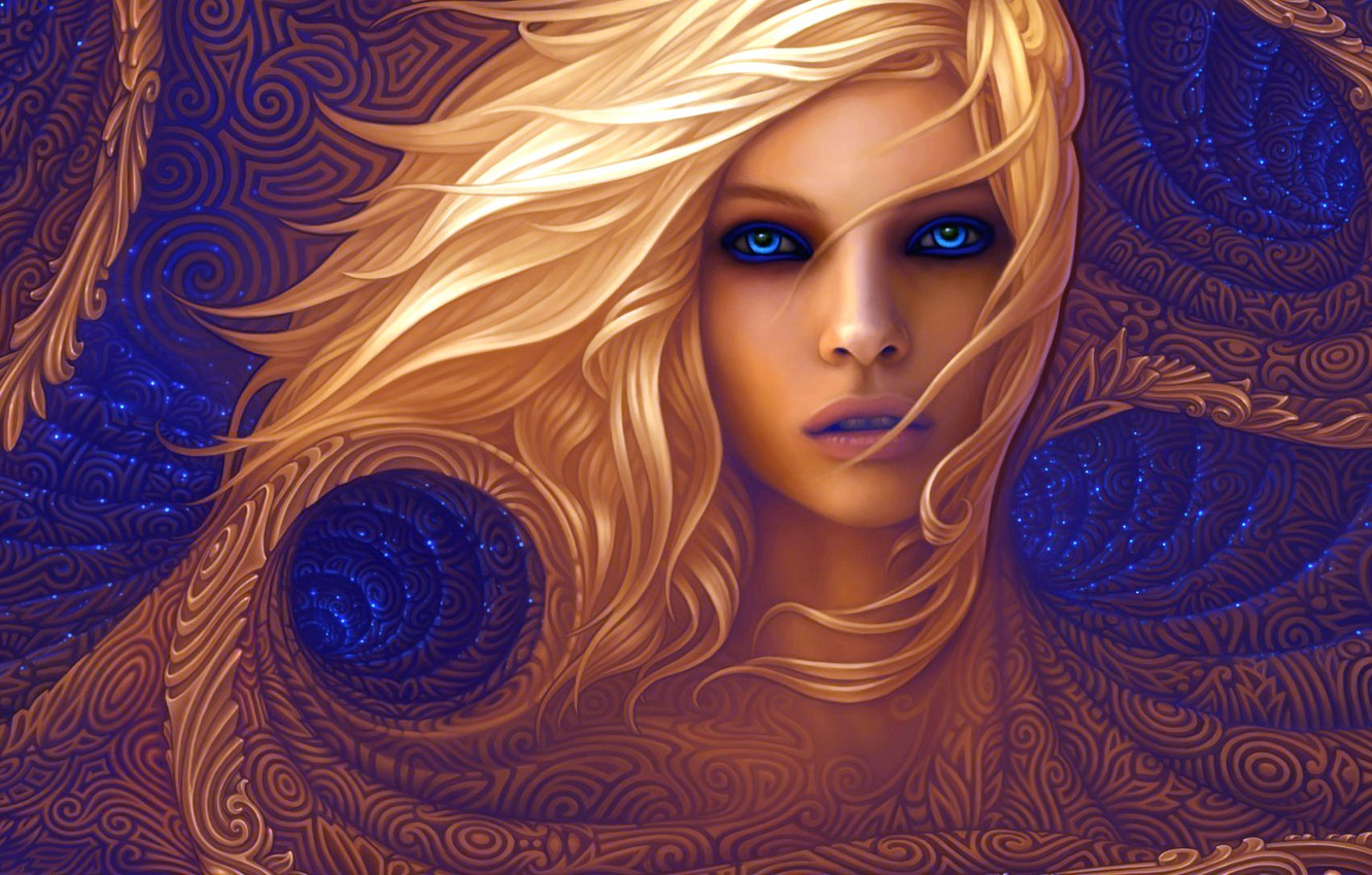 Photo wallpaper colors, colorful, abstract, girl, long hair, texture, blue eyes, lips, face, blonde, rendering, digital art, …