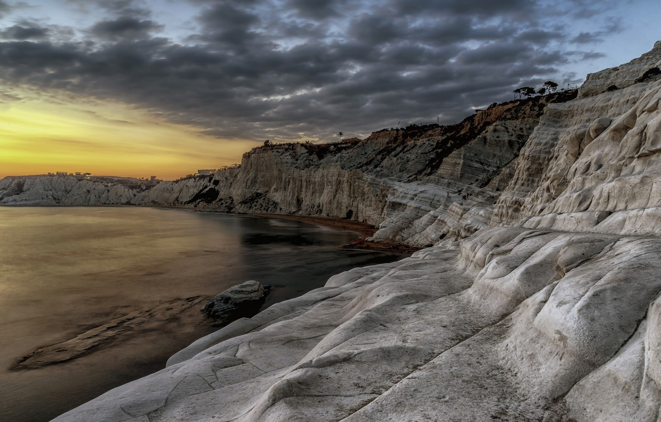 Wallpaper sea, clouds, rocks, Italy, glow, Sicily, Realmonte ...