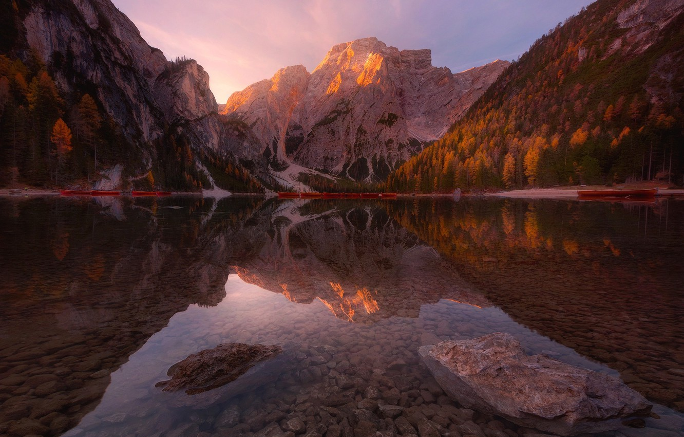Photo wallpaper autumn, forest, water, transparency, light, trees, mountains, stones, mountain, boats