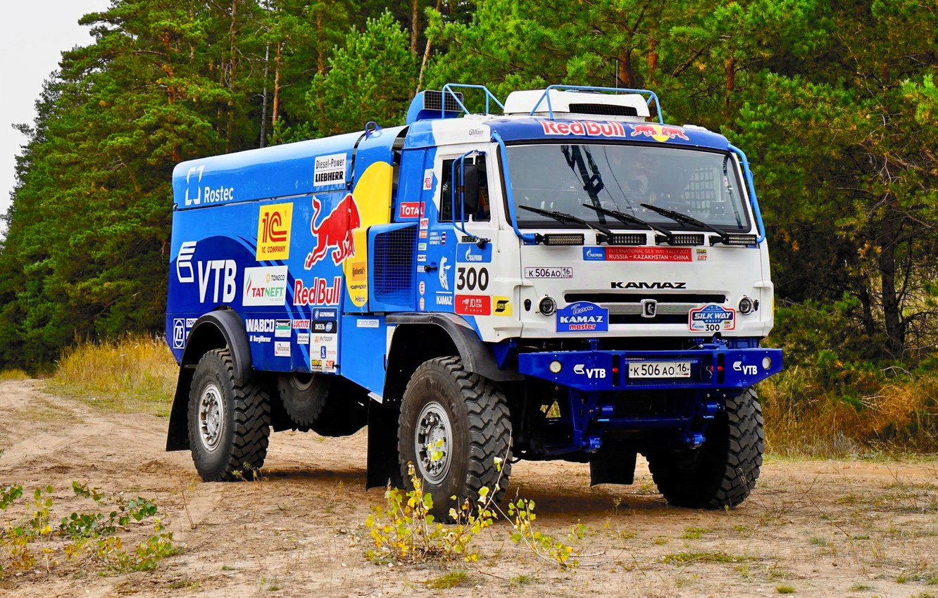 Photo wallpaper Nature, Forest, Sport, Truck, Race, Master, Russia, 300, Kamaz, Rally, Rally, KAMAZ, The roads, Best, …