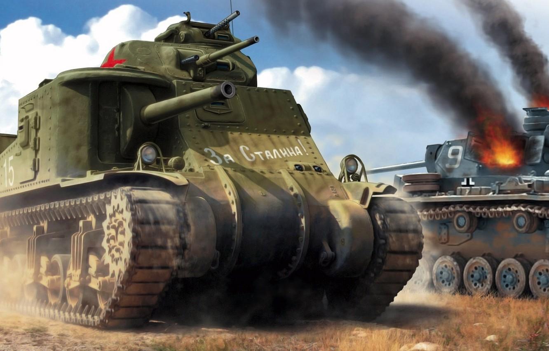 Photo wallpaper USSR, Lee, American medium tank, For Stalin