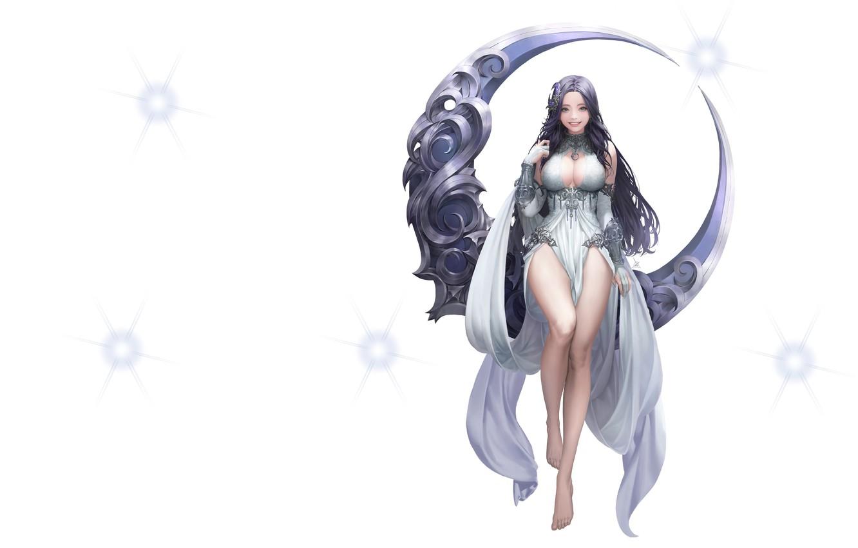 Photo wallpaper metal, the moon, fantasy, art, Illustrator, League of Angels, Daeho Cha, Moon goddess