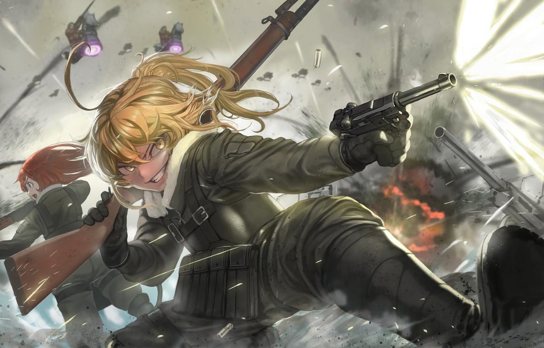 Photo wallpaper battlefield, girl, gun, pistol, soldier, military, weapon, war, anime, fight, blonde, asian, manga, gloves, oriental, …
