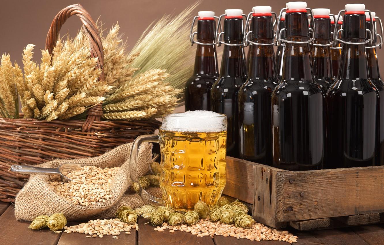 Photo wallpaper foam, basket, beer, mug, bottle, ears, box, bag, grain, hops