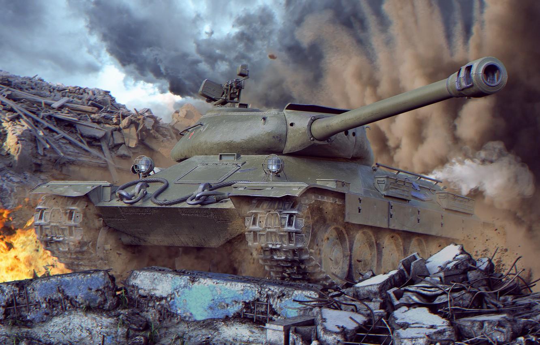 Photo wallpaper tank, world of tanks, wot, tank, Soviet tank, wotart, anderarts, Isaiah 6, is-6, is-6