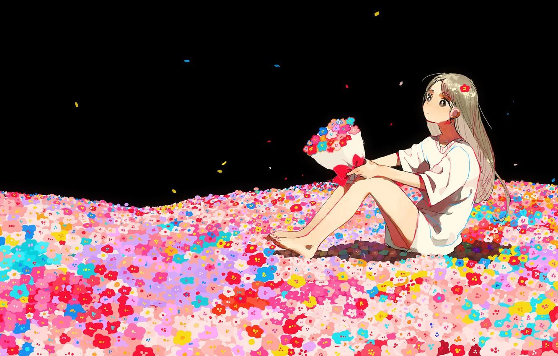 Photo wallpaper night, bouquet, t-shirt, girl, dreams, sitting, long hair, field of flowers
