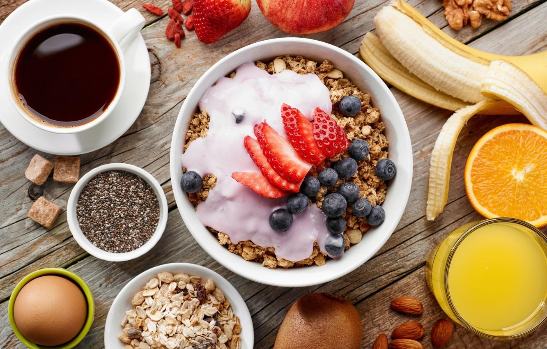 Photo wallpaper berries, coffee, Breakfast, fruit, nuts, muesli, cereal