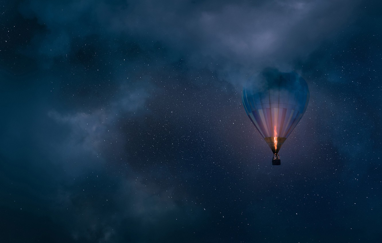 Photo wallpaper the sky, clouds, night, balloon, stars, balloon