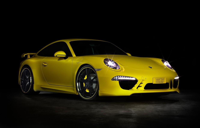 Photo wallpaper 911, Porsche, Yellow, Tuning, Techart