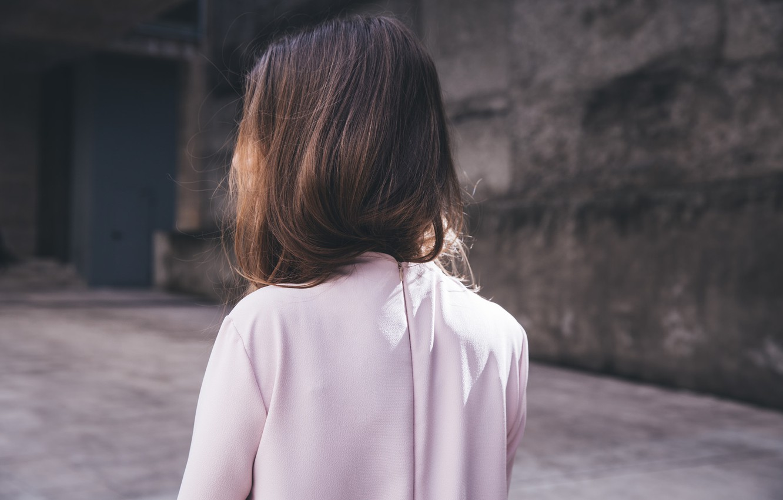 Photo wallpaper girl, clothing, back, brown hair
