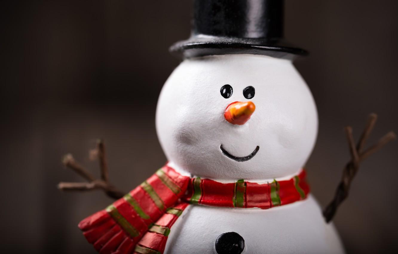 Photo wallpaper New Year, Christmas, snowman, snow, merry christmas, snowman