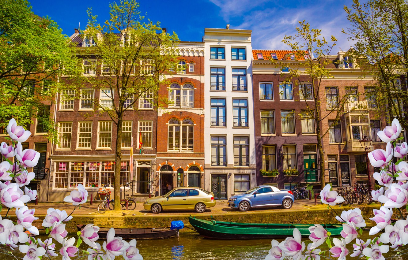 Photo wallpaper river, spring, boats, Amsterdam, flowering, blossom, Amsterdam, flowers, old, spring, buildings, Netherlands, canal