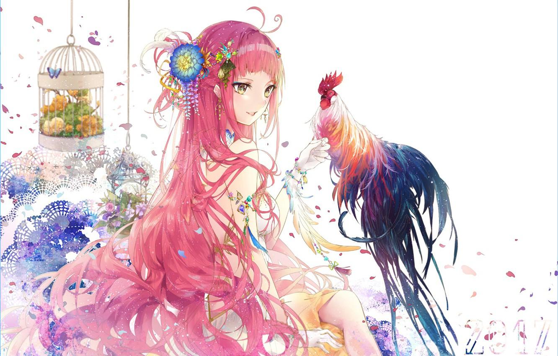 Photo wallpaper girl, anime, art, cock, symbol of the year 2017