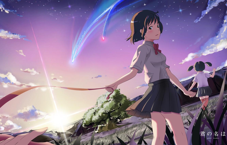 Photo wallpaper the sky, stars, clouds, sunset, nature, girls, anime, tears, art, tape, form, Schoolgirls, shooting star, …