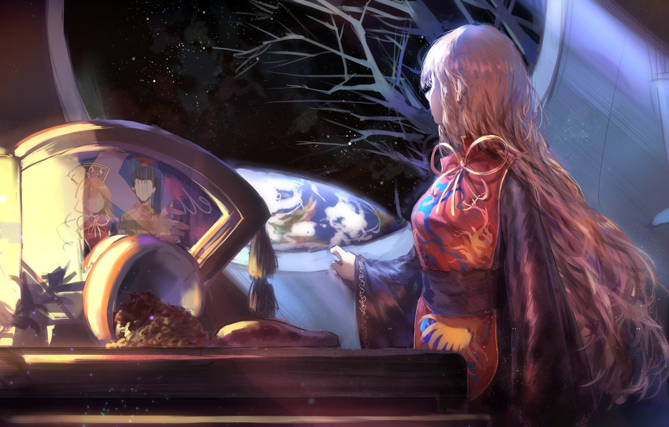 Photo wallpaper night, table, window, Earth, lantern, long hair, touhou, starry sky, Touhou Project, Project East, Junko