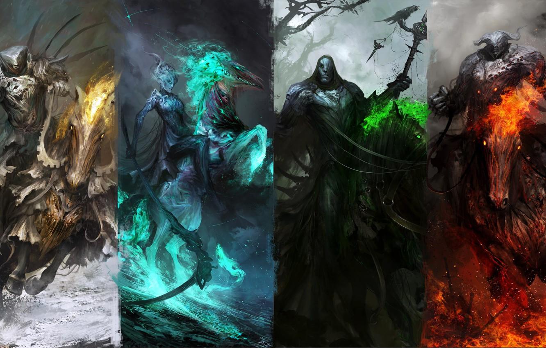 Photo wallpaper green, dark, fire, red, sword, white, fantasy, black, horses, knights, artwork, warriors, fantasy art, dark …