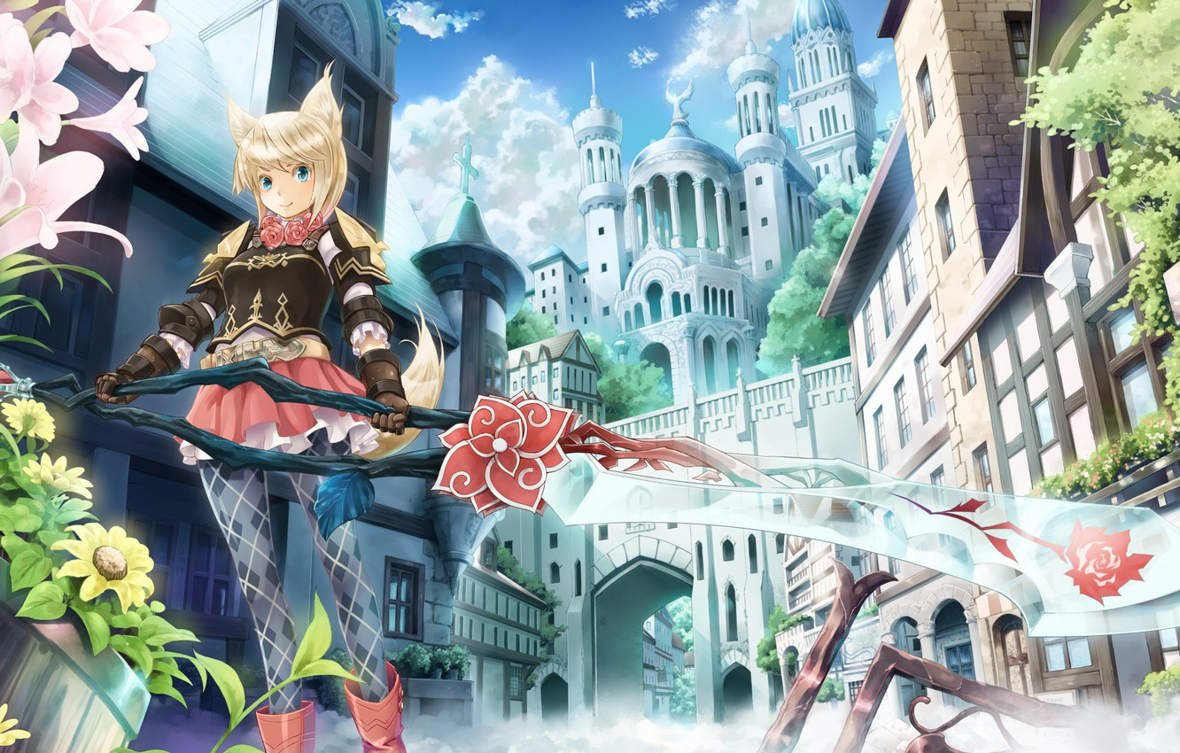 Photo wallpaper girl, the city, weapons, art